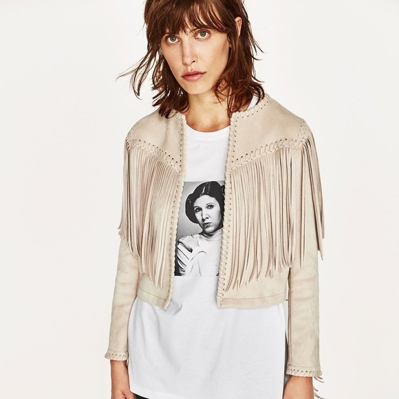 a6ff1722 ZARA FAUX SUEDE JACKET WITH FRINGE - XS. M_5af4f6ba3afbbd817918fa8a. Other  Jackets & Coats ...